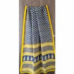 Block Printed Chanderi silk Saree with blouse