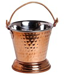 Copper And Steel Copper Serving Bucket, Size: 7