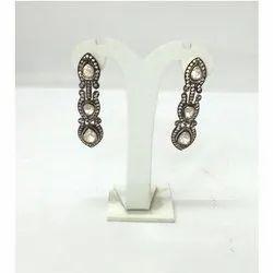 Sterling Silver Polki Earring