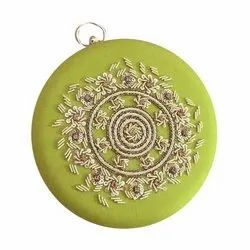 Ladies Round Embroidery Clutch