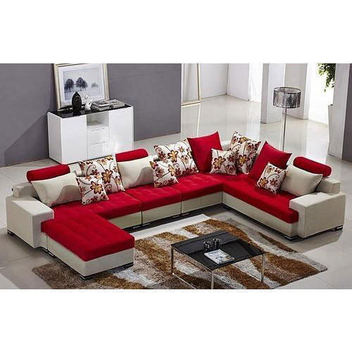 Red And White Leather U Shape Designer Sofa Set, Rs 90000