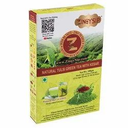 Zingysip Premium Tulsi Green Tea with Saffron -100 Gm. - Prepare In 5 Seconds