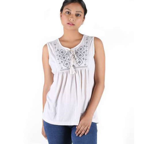 0bd403169951b White Cotton Ladies Sleeveless Top