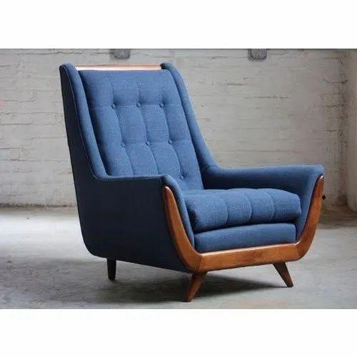 Blue Modern Armless Wooden Sofa Chair