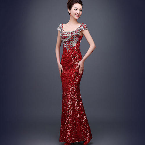 d79ce1381e Round Neck Red Western Engagement Dress, Rs 20000 /piece, S.B. ...