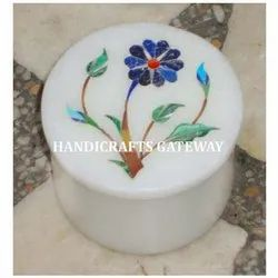Round Marble Inlaid Box