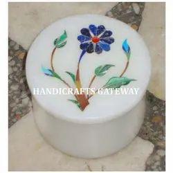 Round Marble Inlaid Box
