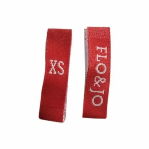 Red Rectangular Printed Woven Clothing Labels, Packaging Type: Packet