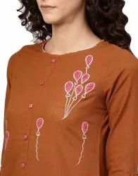 Yash Gallery Women's Cotton Slub Applique Work Straight Kurta