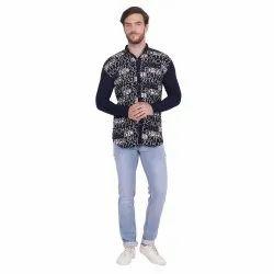 Black Printed Jacard Full Sleeve Shirt, Size: M