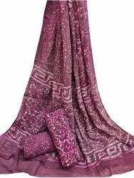 Unstitched Cotton Suit Set With Chiffon Dupatta