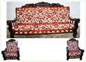Multicolor Red Sun Flower Printed Sofa Set
