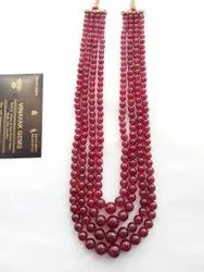 Best Quality Natural Bangkok Ruby Glass Filled Smooth Round Beads Strand Necklace