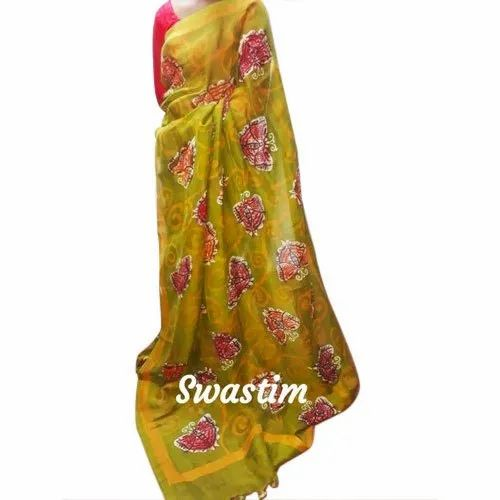 Swastim Ladies Floral Print Saree, 6.5 m