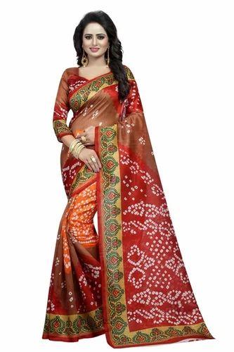 eb582b6343d3ee Bandhni Printed Bhagalpuri Silk Saree