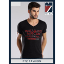 Mens Cotton Printed Black V Neck T-shirt