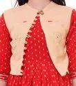 Ladies Cotton Golden Butti Kurti with Rayon Jacket