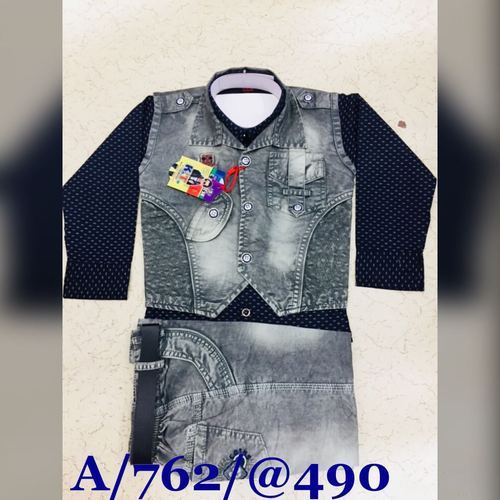 Boys Party Wear Grey And Black Denim Suit