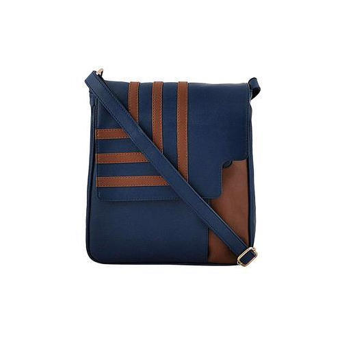 Blue And Brown Plain Daphne Cross Body Sling Bag Faux PU Leather Shoulder  Bag 179e4084c2ef0