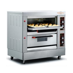 Double Deck Four tray Deck Oven, 2 Deck 4 Tray Gas Deck Oven