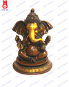 Ganesh Sitting W/Crown & Folded Trunk Statue