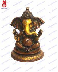Ganesh Sitting W/crown & Folded Trunk Statue