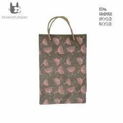 Linen Carry Bag (M)  peach dandelion print, jute rope handles