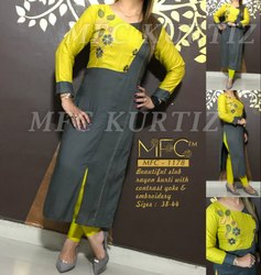 Straight 3/4th Sleeve MFC Rayon Kurti