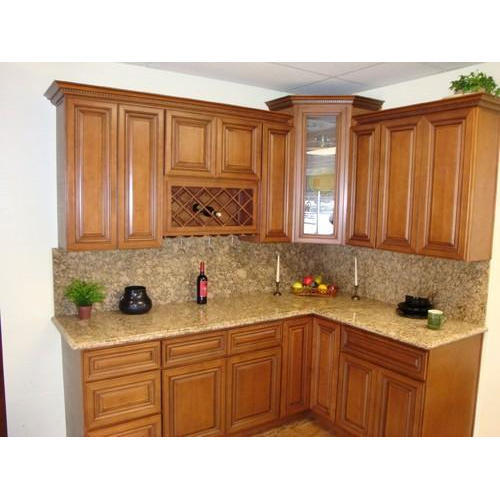 Elegant L Shaped Solid Wood Kitchen Cabinets Latest: Wooden Kitchen Cabinets, वुडन किचन कैबिनेट, Solid Wood