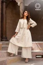 Womaya Cotton Flex Gold Printed Kurti Palazzo and Koti Set