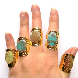 Gold Electroplated Turquoise Gemstone Women Fashion Rings