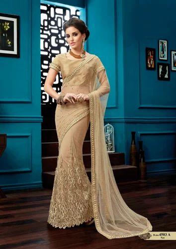 470c1f5bff Beige Net Designer Saree With Pearl Embellishments | ID: 16489735373