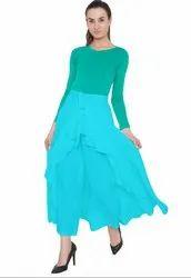Turquoise American Crepe Ruffel Palazzo Skirt