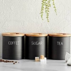 Wooden Lid Tea Coffee Sugar Canister Set