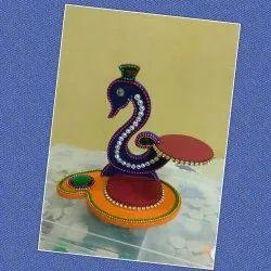 Peacock Shape Purple Wooden Handicrafts, 16 Cm, Size: 16cm