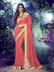 Peach Synthetic Material Saree