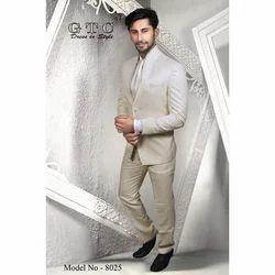 Wedding, Partywear Plain Cream Stand Collar Men's Suit, Model: 8025