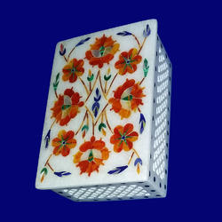 Handcrafted Rectangular Marble Box With Inlay Work