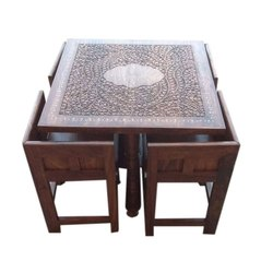 Royal Brown Square Wooden Dining Table, For Home, Size/Dimension: 40l X 40w Inch