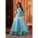 Ladies Blue Crop Top and Skirt with Shrug Designer Dress