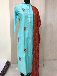 Sky Blue Straight Indian Ethnic Designer Long Art Silk Party Wear Kurti
