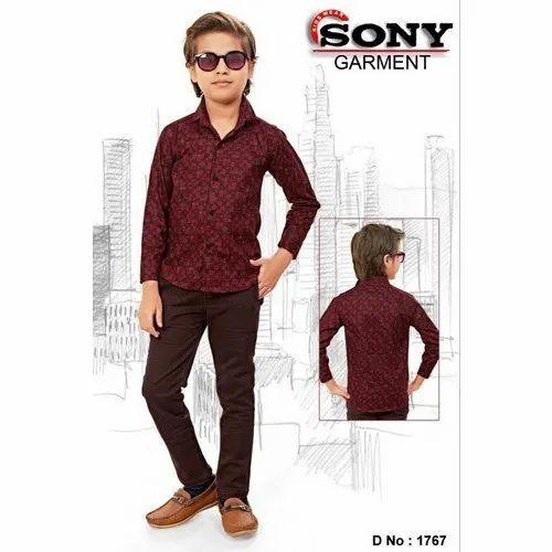 Full Sleeves Regular Wear Kids Maroon Printed Shirt