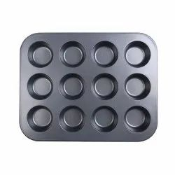 Black 12pc Carbon Steel Muffin Tray, Thickness: 1-10mm, 0.5 Kg