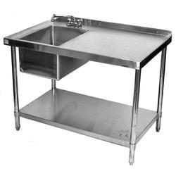 SS 304 Square Work Table With Sink