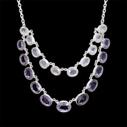 Silver Women Amethyst And Rose Quartz Gemstone Layring Necklace
