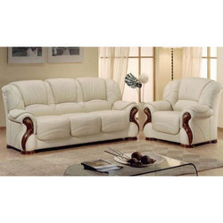 White Leather Wooden Sofa Set At Rs