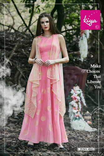 a54ab5e7f32b Chiffon And Net Floral Baby Pink Ladies Designer Gown