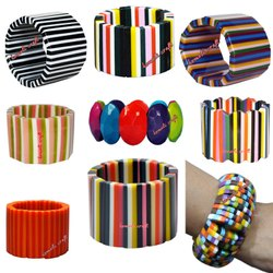 Fashion Stretch Vintage Resin Cuff Bangles for Women Trendy Wide Multi Color Acrylic Bracelets