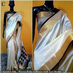 Chanderi Silk Designer Indian Ethnic Saree, Sari Length: 5.5 m