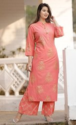 Pink Party Wear Tripta - Cotton 60-60 Straight Printed Kurti With Palazzo